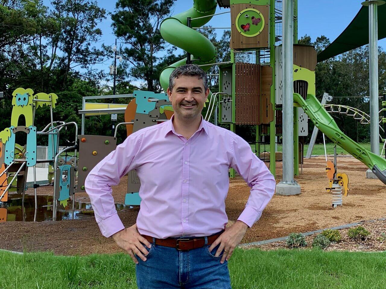 Councillor Hermann Vorster at the new Frascott Park Playground